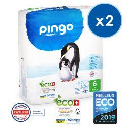 Pack économique  de 2  Pingo. Couches T6 écologiques jetables. 16-30 kgs