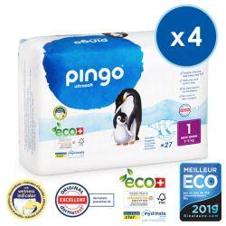 Pack économique  de 4  Couches NEW BORN écologiques jetables. 3-5 kgs Pingo