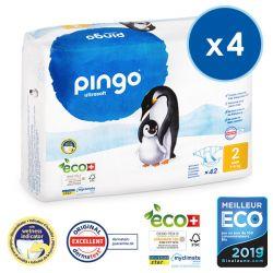 Pack économique  de 4 Pingo. Couches T2 MINI écologiques jetables. 3-6 kgs