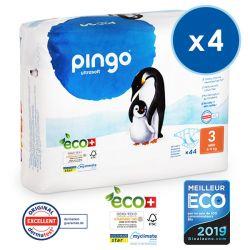 Pack économique de 4 Pingo. Couches T3 écologiques jetables. 4-9 kgs