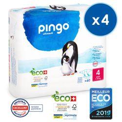Pack économique  de 4 Pingo. Couches T4 écologiques jetables. 7-18 kgs