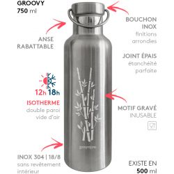 Gourde Groovy isotherme au bouchon tout inox - bambou 750 ml