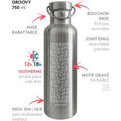 Gourde Groovy isotherme au bouchon tout inox -  Vagues 750 ml
