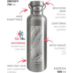 Gourde Groovy isotherme au bouchon tout inox -  Palmier 750 ml