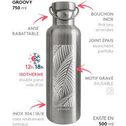 Gourde Groovy isotherme au bouchon tout inox -  Palmier 750 ml