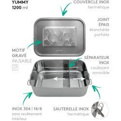 Lunch box YUMMY Ginkgo tout Inox étanche - 1200ml