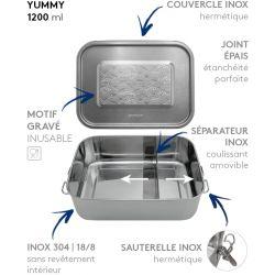 Lunch box YUMMY Vagues tout Inox étanche - 1200ml