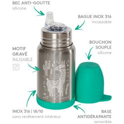 Gourde des petits Sippy isotherme inox Lama 350 ml