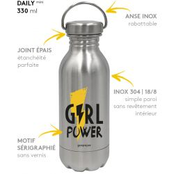 Gourde inox DAILY mini Girl Power  330 ml