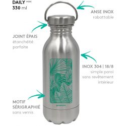 Gourde inox DAILY mini jungle 330 ml