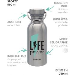 Gourde inox SPORTY 500 ml inox Life Power
