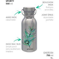 Gourde inox SPORTY 500 ml inox Plume verte