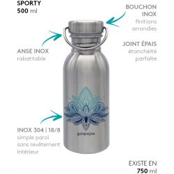 Gourde inox SPORTY 500 ml inox Lotus