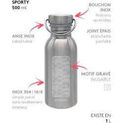 Gourde inox SPORTY 500 ml inox Vagues