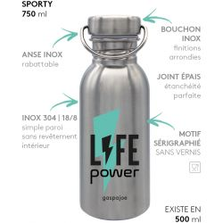 Gourde inox SPORTY 750 ml inox Life Power