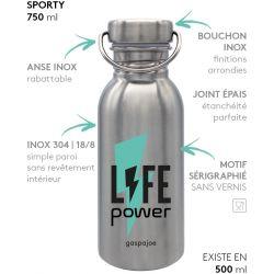 Gourde inox SPORTY 750 ml inox Life Power