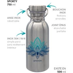Gourde inox SPORTY 750 ml inox Lotus