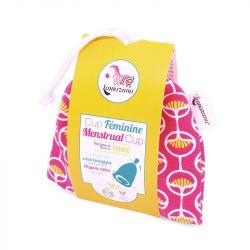 Cup féminine / Coupe menstruelle Pochette rose taille 1