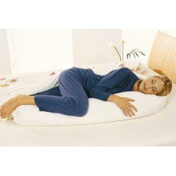 Grand coussin d'allaitement garni d'épeautre bio + housse 20x190 cm