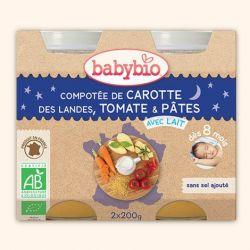 Menu Bonne nuit Compotée de carotte,tomate et pâtes dés 8 mois 2x200gr