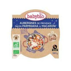 Assiette Bonne nuit Aubergines façon Parmigiana et Macaroni dés 15 mois