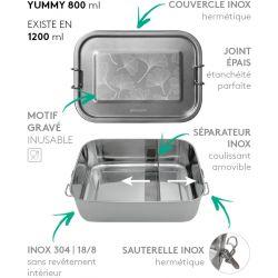 Lunch box YUMMY Ginkgo tout Inox étanche - 800ml
