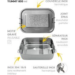 Lunch box YUMMY Retro game tout Inox étanche - 800ml