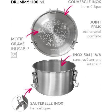 Lunch box DRUMMY cerisier tout Inox étanche - 1100ml
