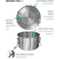 Lunch box DRUMMY onde tout Inox étanche - 1100ml