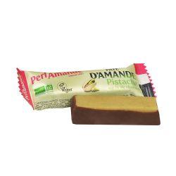 Barre Pâte d'amande bio pistache sur lit chocolat 25g - Perlamande