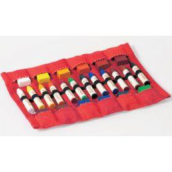 Etui etoffe rouge pour 12 crayons et blocs de cire