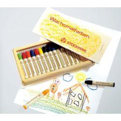 Crayons de cire à colorier - 16 couleurs en boîte bois