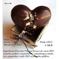 GROS COEUR CHOCOLAT GARNI MENDIANT BIO