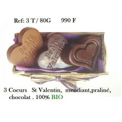 COFFRET 3 COEURS  EN CHOCOLAT ST VALENTIN, MENDIANT, PRALINE, CHOCOLAT NOIR