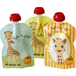 Lot de 3 gourdes réutilisables Sophie la Girafe SQUIZ